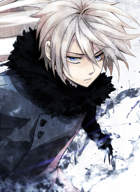 Anime guy with white hair and red eyes