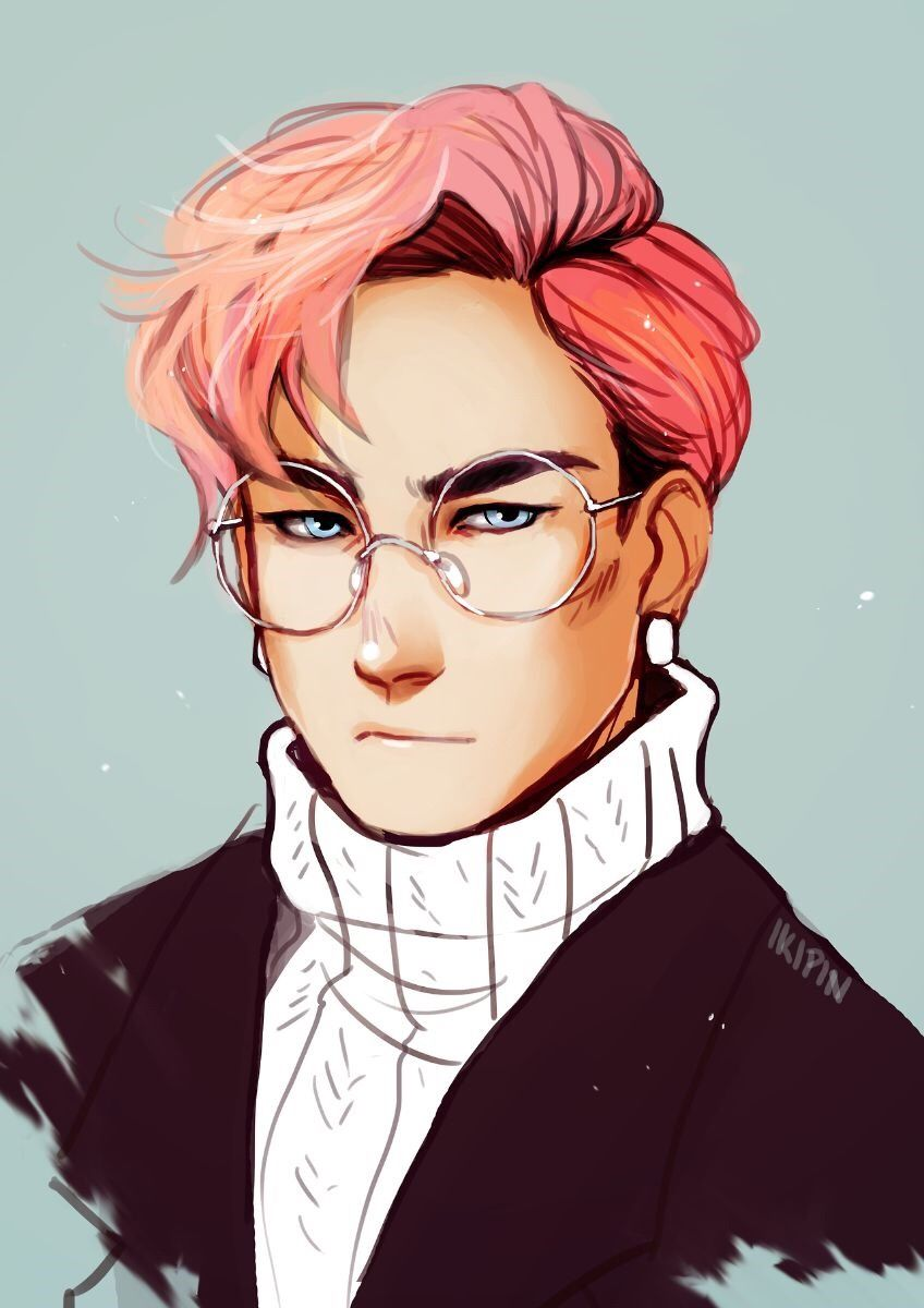 anime hair with Male characters pink