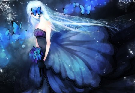 butterfly in Anime girl blue hair with