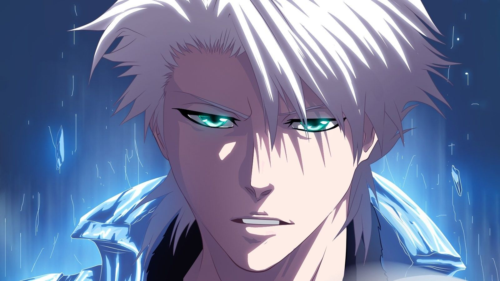 eyes with and blue guy white Anime hair