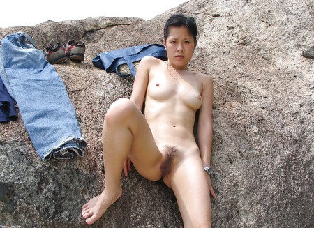 Outdoor asian housewife blonde