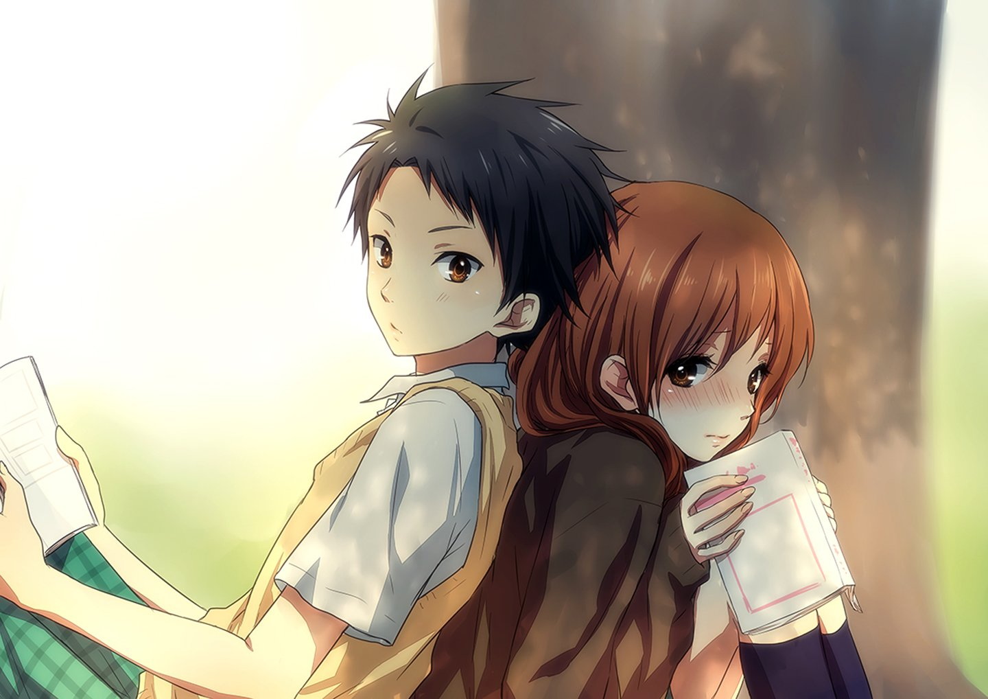 Anime couples with brown hair