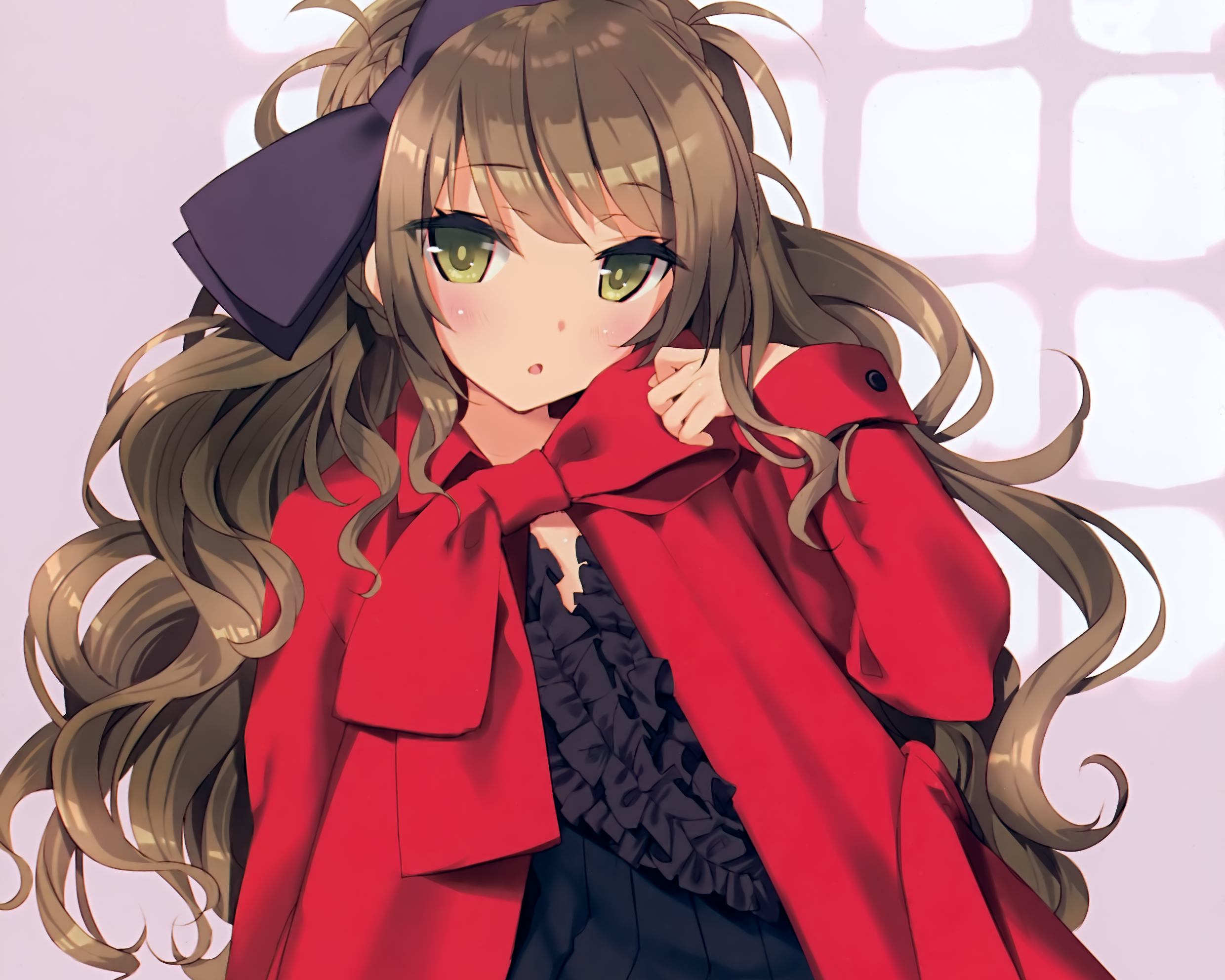 Anime girl with light brown hair and green eyes