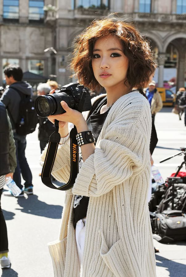 Asian skinny curly messy