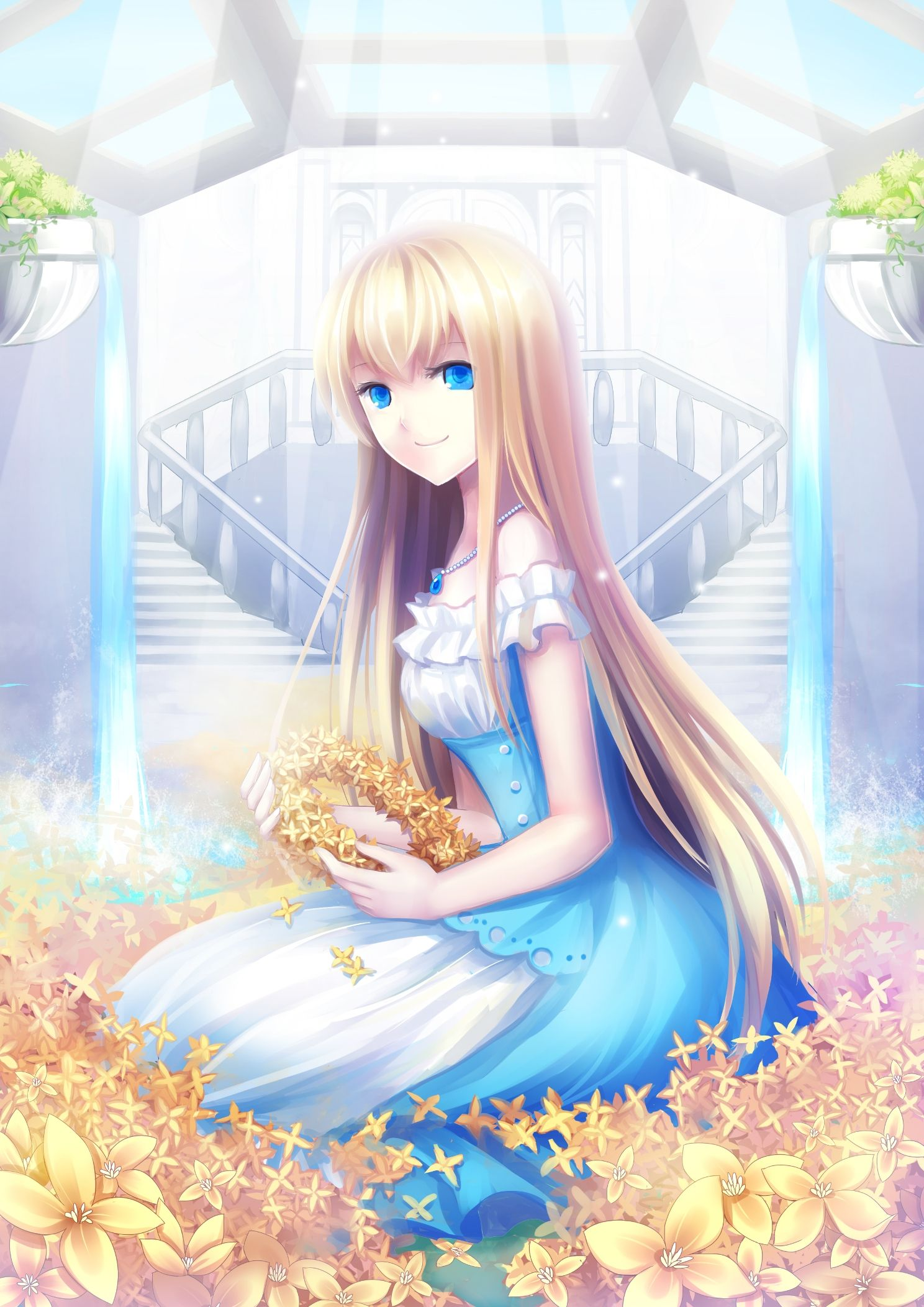 with eyes Blonde blue anime girl
