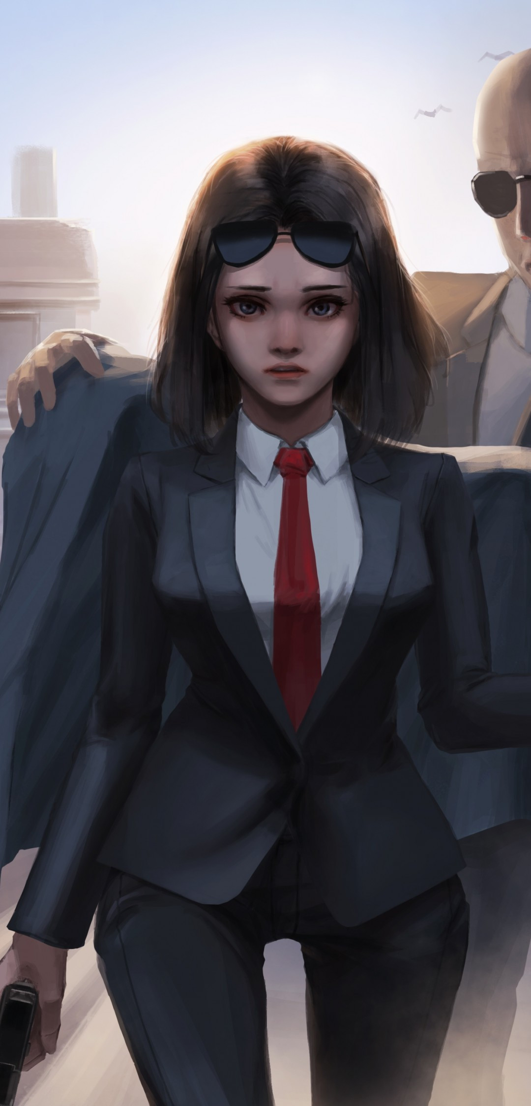 Anime girl in suit
